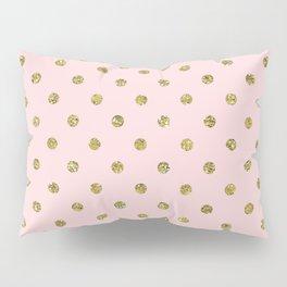 Pink & Gold Glitter Polka Dots Pillow Sham