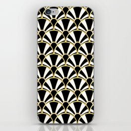 Black, White and Gold Classic Art Deco Fan Pattern iPhone Skin
