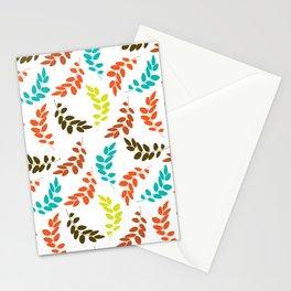 Colorful Leaves, Leaf Pattern - Blue Orange Green Stationery Cards