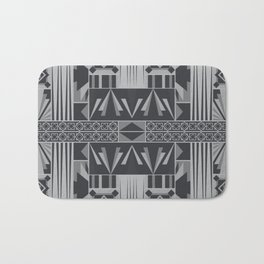Retro Art Deco Geometry Black White Bath Mat