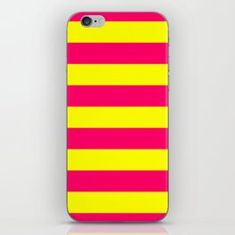 Bright Neon Pink and Yellow Horizontal Cabana Tent Stripes iPhone Skin
