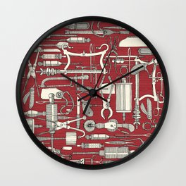 fiendish incisions claret Wall Clock