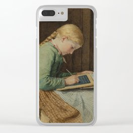 ANKER, ALBERT (1831 Ins 1910) Writing girl. Clear iPhone Case