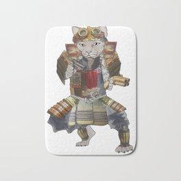 Steampunk samurai cat with 2 pistols Bath Mat