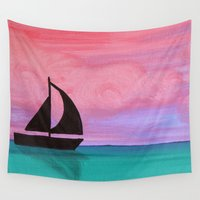sail Wall Tapestries featuring Sail Away by AriesArtNW.com
