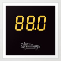 delorean Art Prints featuring DeLorean by Adikt
