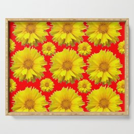 """YELLOW COREOPSIS """"TICK SEED"""" FLOWERS RED PATTERN Serving Tray"""