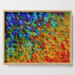 COLLISION COURSE - Bold Rainbow Splash Bricks Urban Jungle Ocean Waves Nature City Acrylic Painting Serving Tray