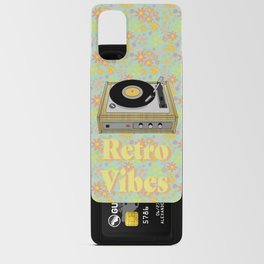 Retro Vibes Record Player Design in Yellow Android Card Case