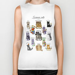 Science cats. History of great discoveries. Schrödinger cat, Einstein. Physics, chemistry etc Biker Tank