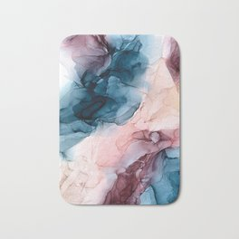 Pastel Plum, Deep Blue, Blush and Gold Abstract Painting Bath Mat