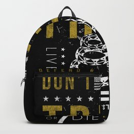 Gadsden Flag Don't Tread on Me Revolution USA Military Rattlesnake Flag Grunge Distress Backpack