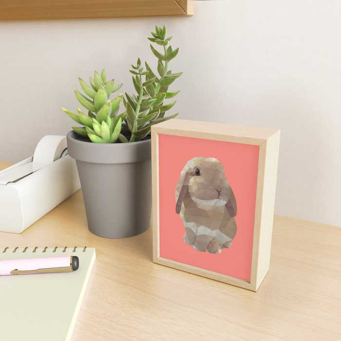 Peanut Bunny the Rabbit Polygon Art Framed Mini Art Print