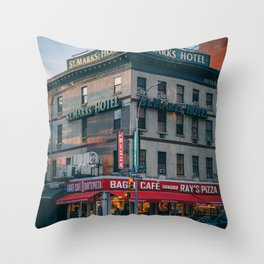 St. Marks Hotel Throw Pillow