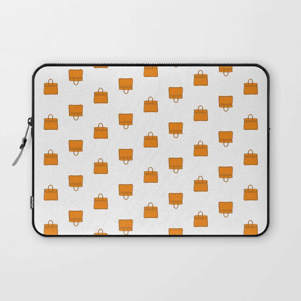 Orange Birkin Vibes High Fashion Purse Illustration Laptop Sleeve by therivalteam (LSV8661551) photo