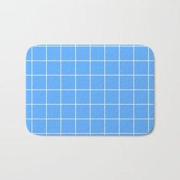 Blue Grid Pattern Bath Mat