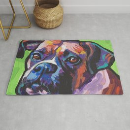 Fun BOXER Dog bright colorful Pop Art Painting by Lea Rug