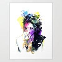 tye dye Art Prints featuring Milla fashion portrait girl watercolor tye and dye face by Jessica Trouy