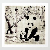 pandas Art Prints featuring Pandas by Michelle Scott