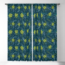 Bouquet of Flowers with Dots, Rings and Spirals Blackout Curtain