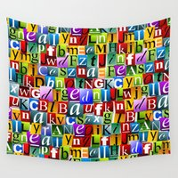 letters Wall Tapestries featuring Letters by Ronda Bröc