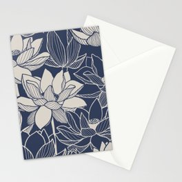 Blue Ink Line Drawing Of Lotus Flowers Floral Pattern Stationery Cards