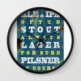 Beer always, metal background poster Wall Clock
