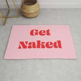 Get Naked Bathroom Art Pink and Red #artwork #typography #poster #pink #red Rug