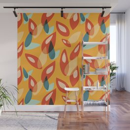 Orange Blue Yellow Abstract Autumn Leaves Pattern Wall Mural
