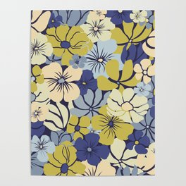 Prints of Flowers, Blue, Green, Yellow, Colour Prints Poster