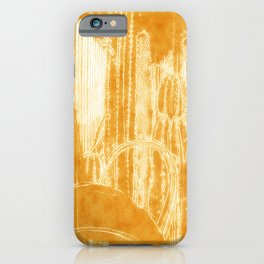 Cactus Garden Outlined Orange iPhone Case