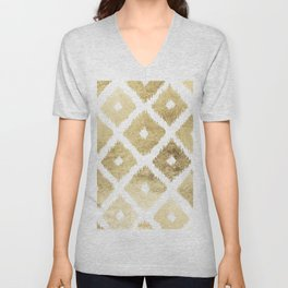 Modern chic faux gold leaf ikat pattern Unisex V-Neck