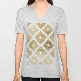 Modern chic faux gold leaf ikat pattern Unisex V-Neck