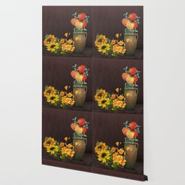 Watercolor Poppies and Golden Sunflowers Wallpaper