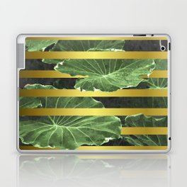 Green Leaves and Gold Stripes Laptop & iPad Skin