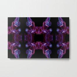 Blue pink twisted smoke abstract Metal Print