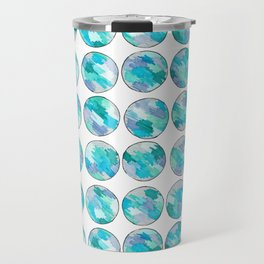'An Ocean Dream' Abstract Illustration in blue, turquoise, aqua and silver Travel Mug
