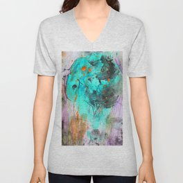 Hand painted teal orange black watercolor Unisex V-Neck