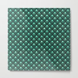 Mermaid Scales in Metallic Sea Foam Green Metal Print