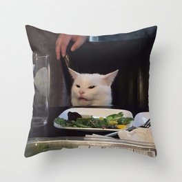 "(Cat Only) ""Woman Yelling At Cat"" Meme Throw Pillow"