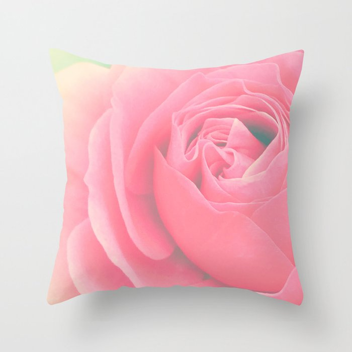 Rose flower photography, pink rose, floral art. Throw Pillow