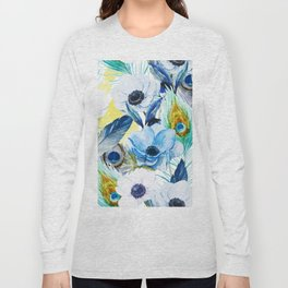 Watercolor Peacock Feather Pattern Long Sleeve T-shirt