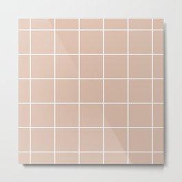 Grid pattern on dusty pink Metal Print