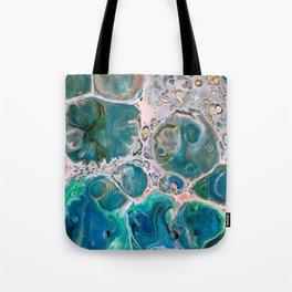 Blue Unique Fluid Pour Acrylic Painting Tote Bag
