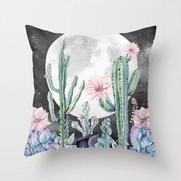 Desert Cactus Full Moon Succulent Garden Night Sky Throw Pillow