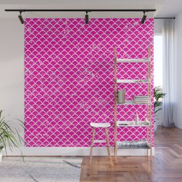 Pink Fish scale pattern Wall Mural