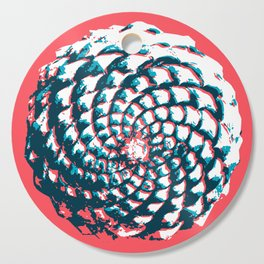 pine cone pattern in coral, aqua and indigo Cutting Board