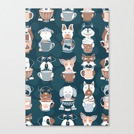 Doggie Coffee and Tea Time II Canvas Print