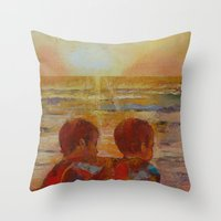 blues brothers Throw Pillows featuring Brothers by Michael Creese