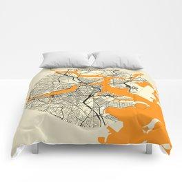 Boston Map Moon Comforters
